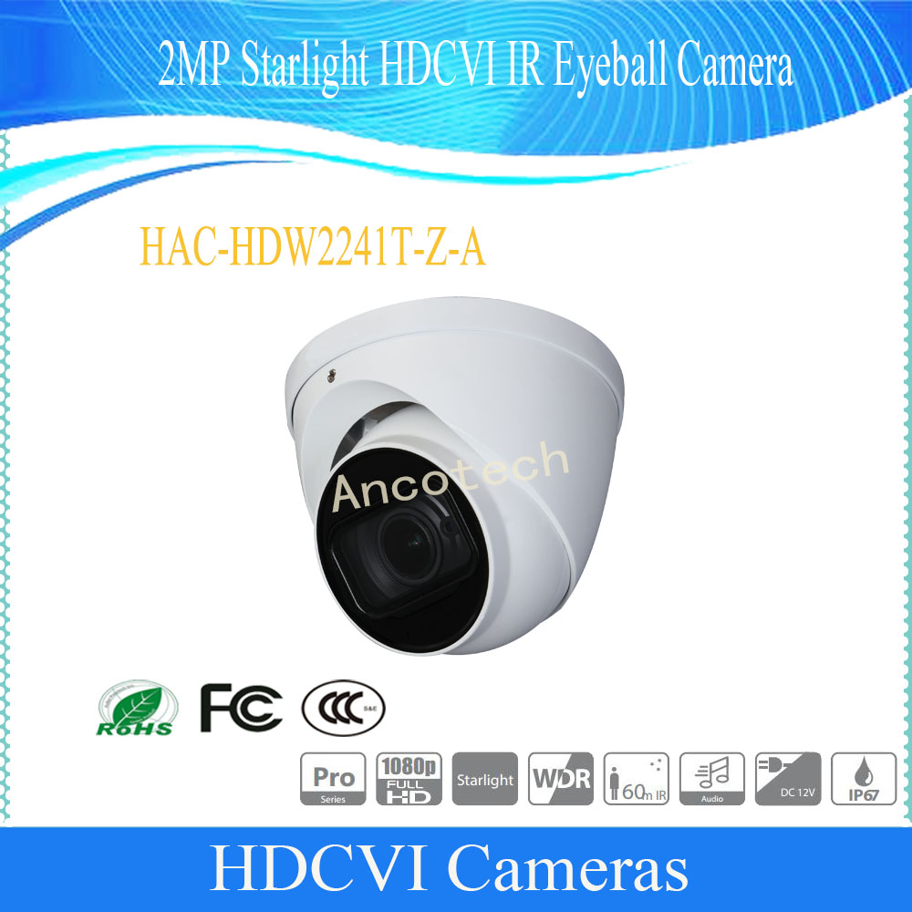 Free Shipping English Version Security Camera CCTV 2M Starlight HDCVI IR Eyeball Camera IP67 DH-HAC-HDW2241T-Z-AFree Shipping English Version Security Camera CCTV 2M Starlight HDCVI IR Eyeball Camera IP67 DH-HAC-HDW2241T-Z-A