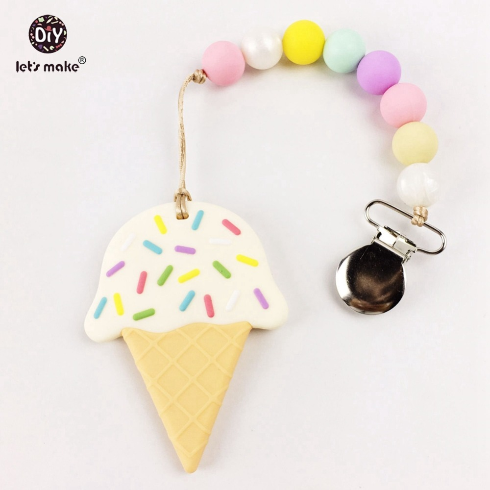 Silicone Ice Cream Teething Pacifier Clip Food Grade Teether Chewable Beads Infant Toys Baby Accessories Activity