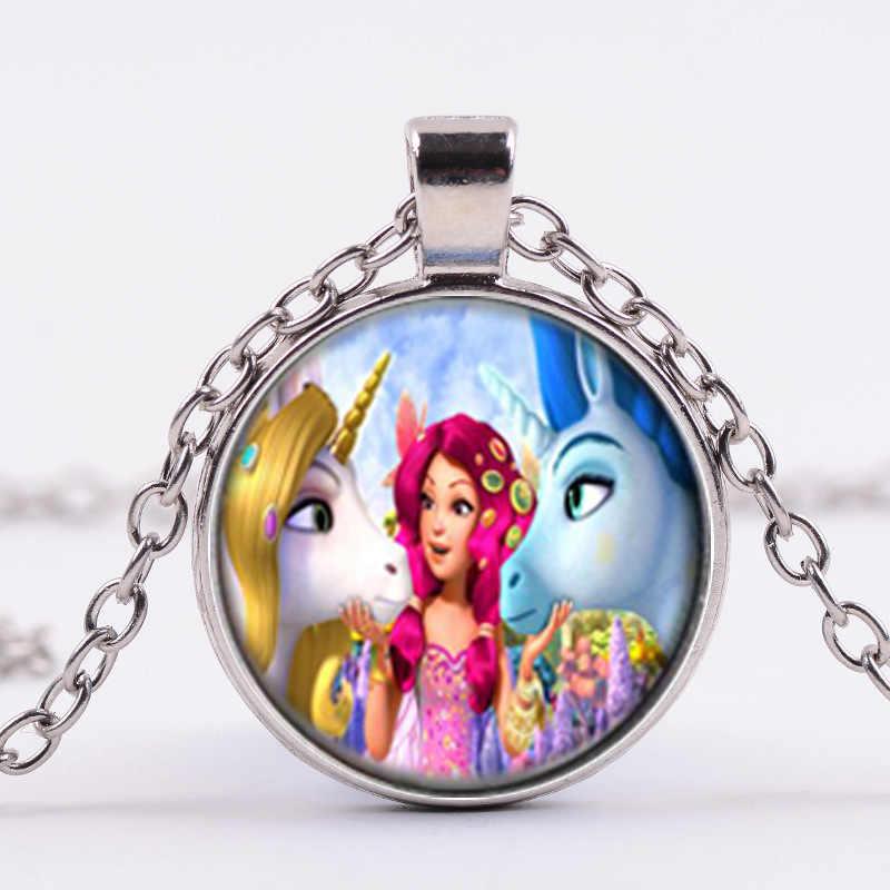 シャンファッションアニメミアと私ネックレスペガサス妖精プリント時間宝石のネックレス女の子の子供の宝石テーマパーティーギフト装身具