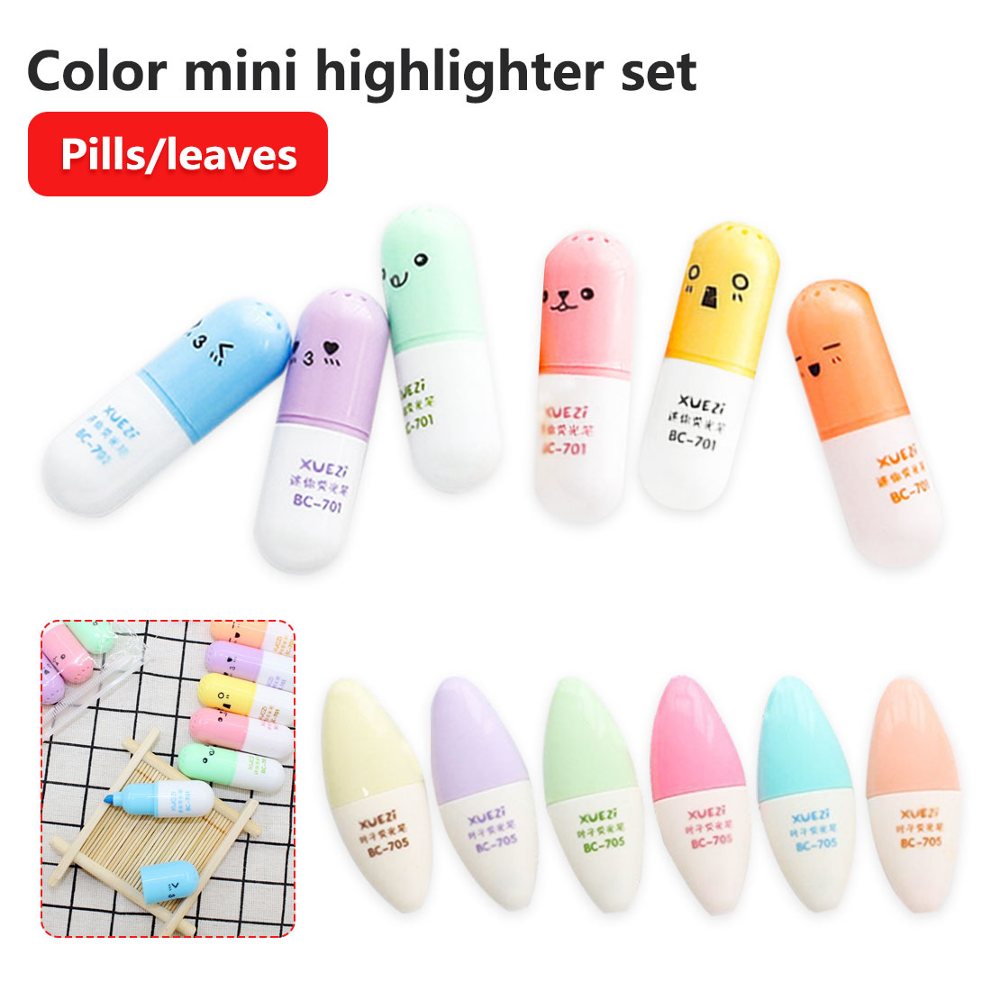 6 Pcs Capsules Styling Highlighter Vitamin Office Stationery School Supplies Pill Highlight Marker Color Pens