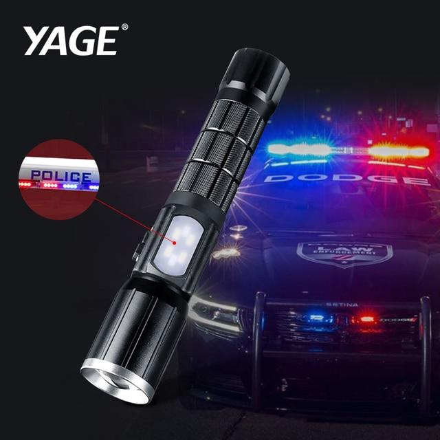 Ultra potente batería recargable de 18650 la policía linterna antorcha linterna USB Zoomable linterna táctica Cree T6 y COB LED militar lámpara de la linterna