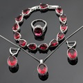 Handmade Red Created Ruby Silver Color Jewelry Sets Bracelets Earrings Necklace Pendant  Rings For Women Christmas Free Gift Box