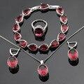 Handmade Red Criado Rubi Conjuntos de Jóias Colar Brincos Pulseiras Anéis Pingente de Cor Prata Para As Mulheres de Natal Caixa de Presente Livre