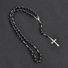 Католические религиозные посеребренные Распятие Иисуса кусок христианские четки Девы Марии ожерелье ювелирные изделия черный кристалл молитва бусы
