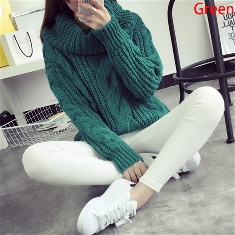 Women Turtleneck Sweaters Autumn Winter Pullover European Casual Twist Warm Sweaters Female Oversized Sweater Pull Jumpers