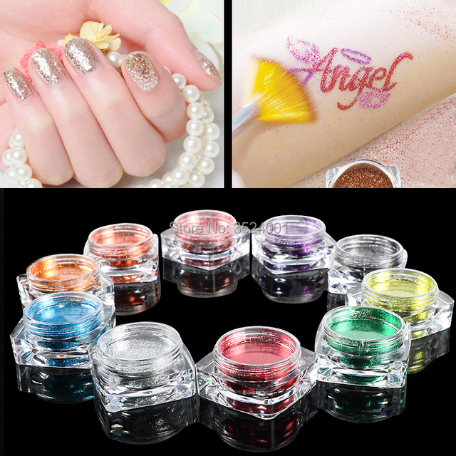Free shipping 10 Colors Glitter Tattoo powder without oil NEW Popular Temporary Body Art supply