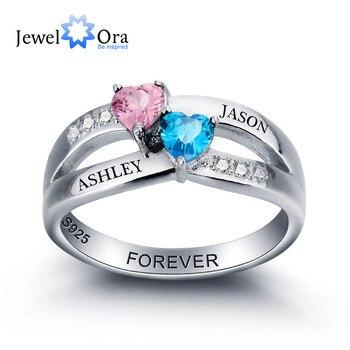 fded1d77e6b9 Personalizado grabado de piedra pareja Corazón de amor de la plata  esterlina 925 promesa anillo de boda caja de regalo gratis (JewelOra  RI102000)