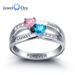 Personalized Engrave Birthstone Couple Heart 925 Sterling Silver Love Promise Wedding Ring Free Gift Box (JewelOra RI102000)