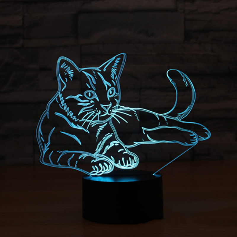 Animal Cat 3D Night Light Changeable Mood Lamp LED 7 Color Illusion Table Lamp For Home Decor with Remote Touch Switch free shipping 1piece new arrive marvel anti hero deadpool figure light handmade 3d bulbing illusion lamp led mood light for kid