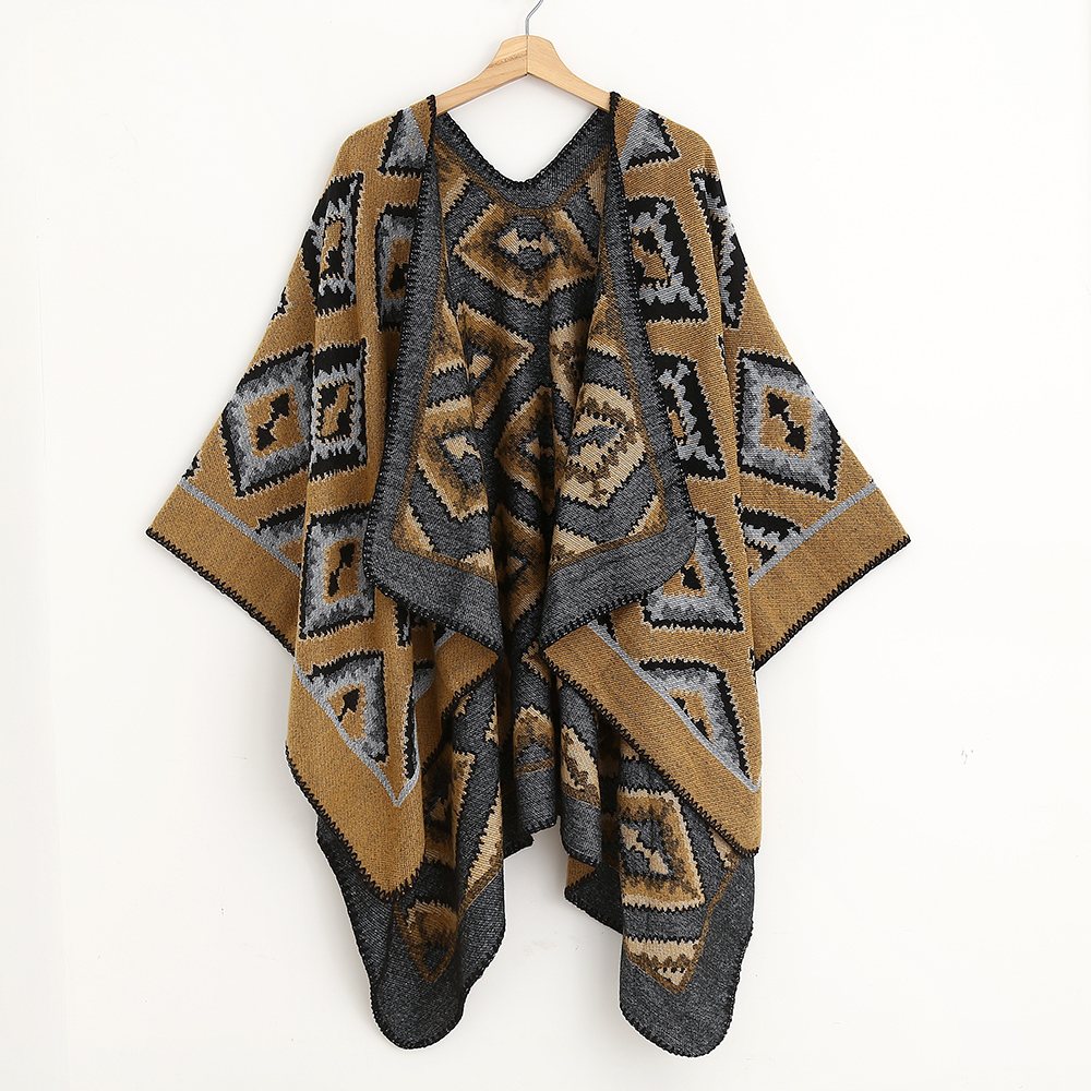 URQ Women Checked Winter Soft Reversible Oversized Tassel Blancket Poncho Shawl Cape