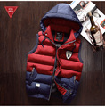Winter Men Wasitcoats Hooded Down Vest Male Autumn Thick Warm Coat Outwear Tops Overcoat Sleeveless Fashion  Big Size 4XL 2016