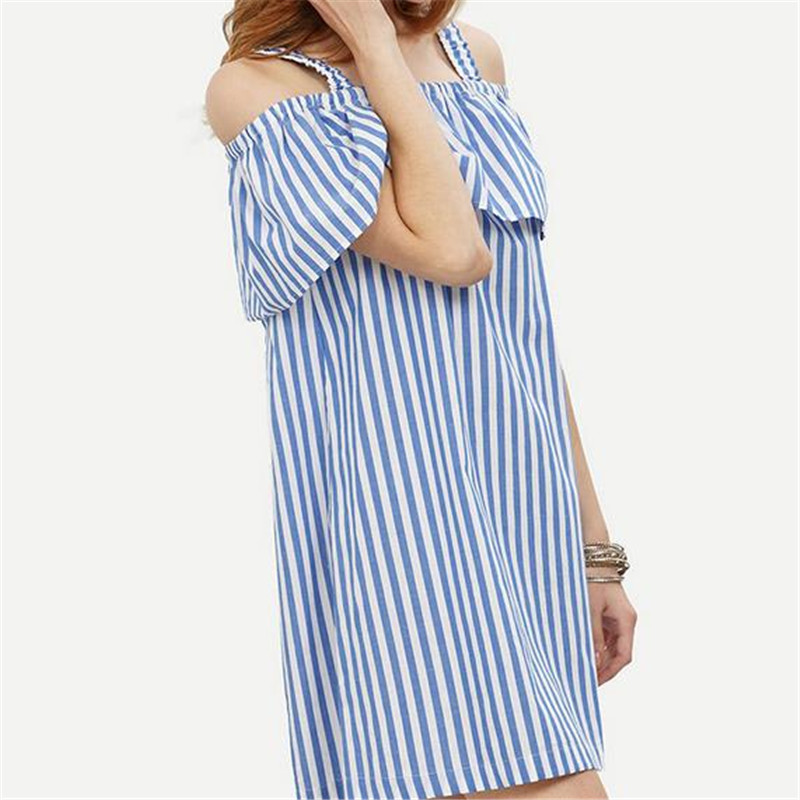 2017 Summer Europe and the United States New Womens Sexy Dress the Word Collar Lotus Leaf Loose Shoulder Strap Striped Dress