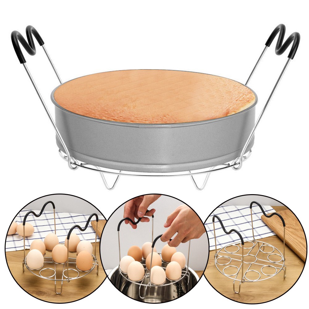With Butterfly Handle Stainless Steel Pan For Instant Pot Steam Rack Steamer Bracket Home Kitchen Cooking Tools Accessories