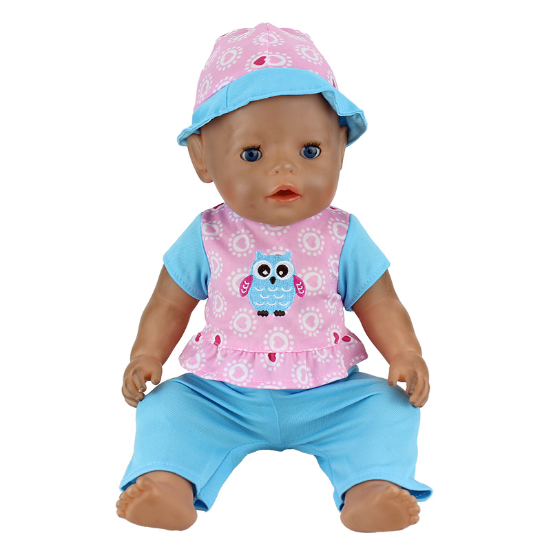 Blue Set Owl Clothes+hat Wear For 17 Inch 43cm Baby Doll ,Children Best Birthday Gift(only Sell Clothes)