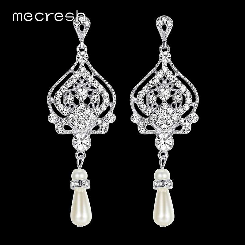 Mecresh Simulated Pearl Chandelier Wedding Earrings for Women Silver Color Crystal Party Hanging Brincos Christmas Jewelry EH463
