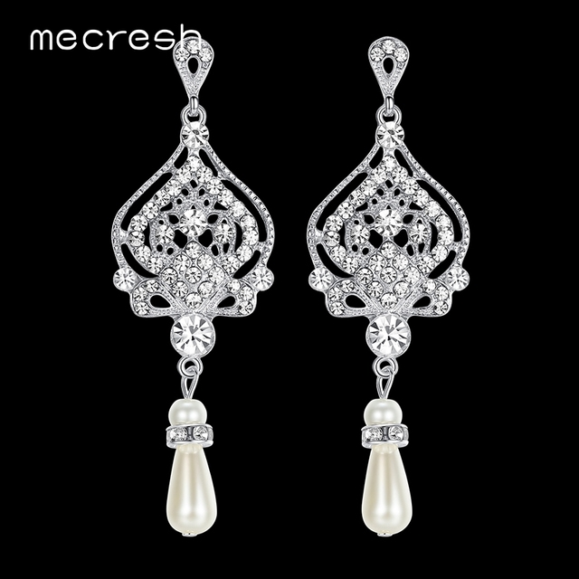 Mecresh Simulated Pearl Chandelier Wedding Earrings for Women Silver Color  Crystal Party Hanging Brincos Christmas Jewelry EH463 d3bee76ddd37