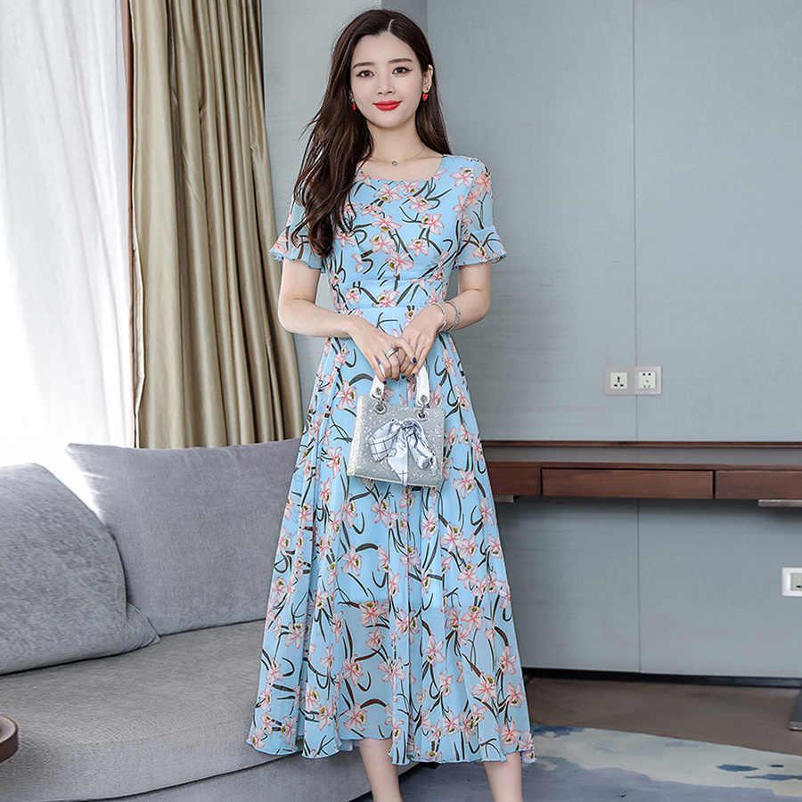 Летнее шифоновое богемное платье миди с цветочным принтом 2019 винтажное пляжное платье макси размера плюс с принтом женские облегающие элегантные вечерние платья