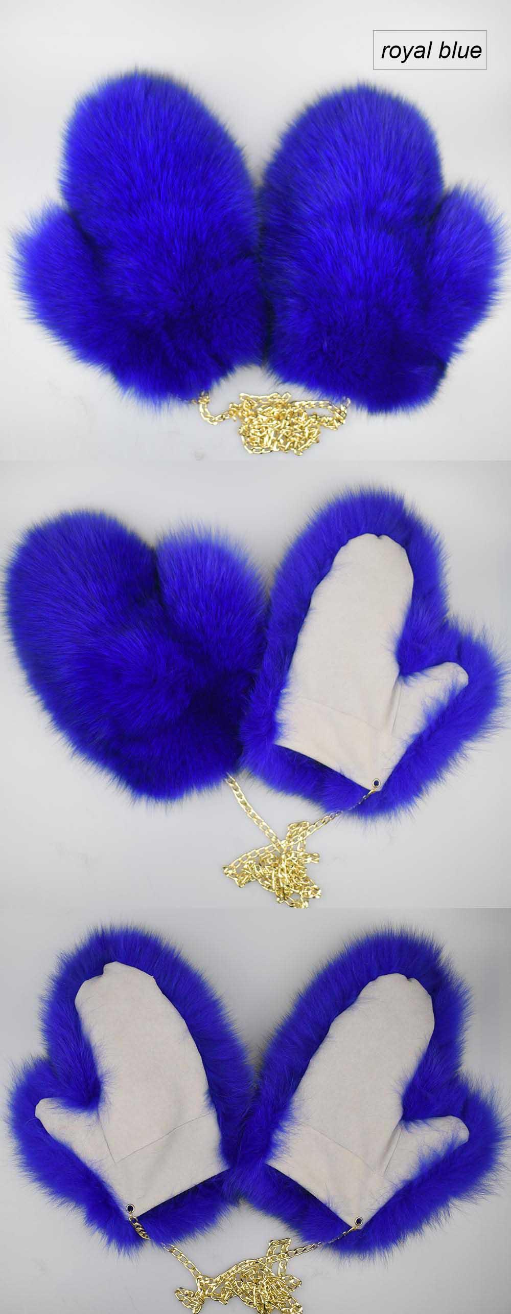 fox fur gloves color royal blue