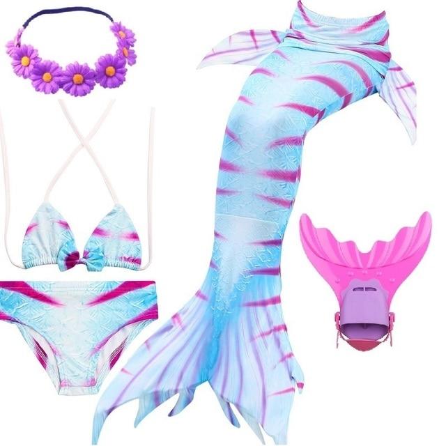 swimming mermaid tail mermaid tails for swimming with monofin children flipper bikini kids children girls Swimsuit Costume