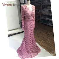 Luxury Long Sleeve Lace Mermaid Evening Dresses Beaded Women Latest Sexy Formal Evening Gowns 2017 Designs