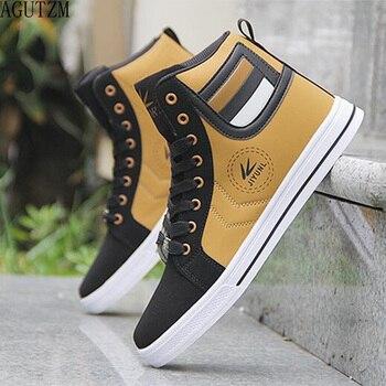Для мужчин; Вулканизированная Обувь На Шнуровке Для мужчин повседневная обувь модные высокие Для мужчин высокая труба Ретро удобные Для му...