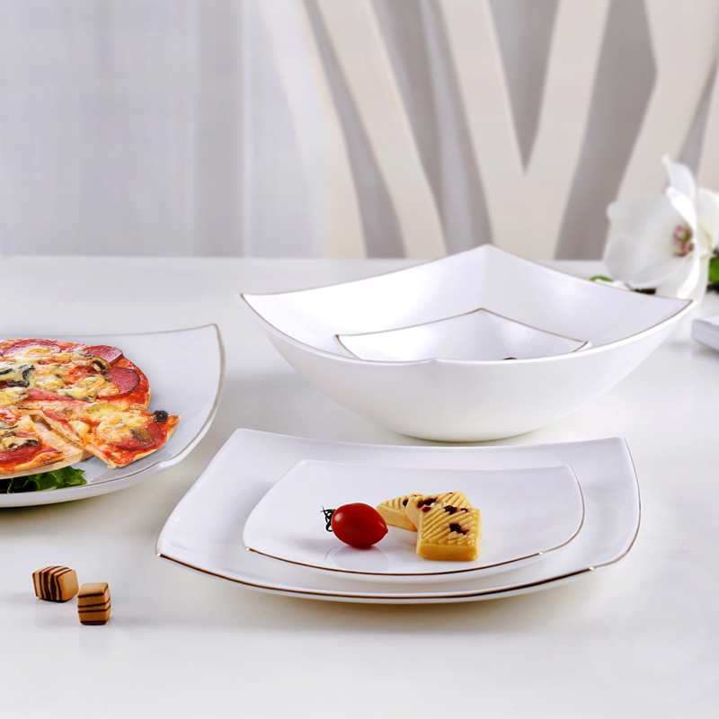 Heat resistant Square Tip Gold edge White Opal Glass Porcelain Plates Dishes Tableware Steak Salad Sushi Dish Plate in Dishes Plates from Home Garden
