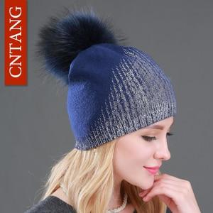Image 4 - 2020 New Winter Beanies Ladies Knitted Wool Warm Hats Fashion Pom Pom Real Raccoon Fur Caps Skullies Hat For Women Print Fur Cap