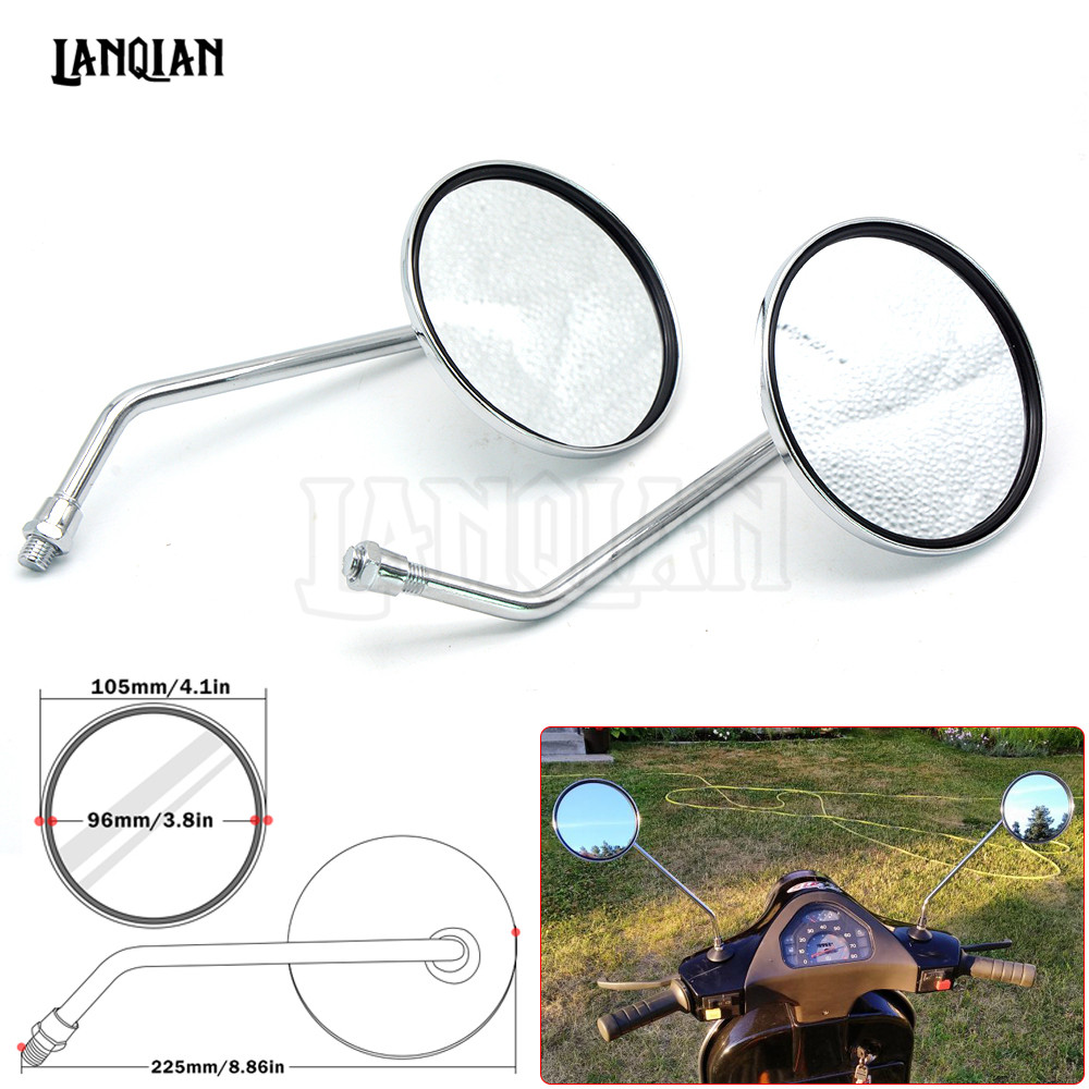 Pair universal Motorcycle Mirrors accessories 8mm 10mm Left and Right Rear side view Mirror round mirror motorcycle long chrome