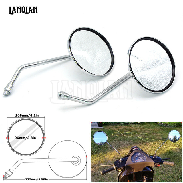 one pair universal Motorcycle Mirrors accessories side Mirror round mirror motorcycle long stem chrome