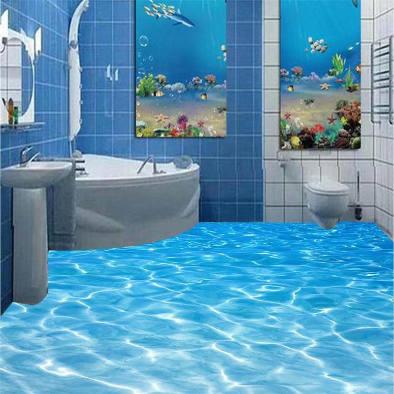 цена на beibehang bathroom Custom 3D floor mural Sea water ripples wear non-slip waterproof thickened self-adhesive PVC Wallpaper