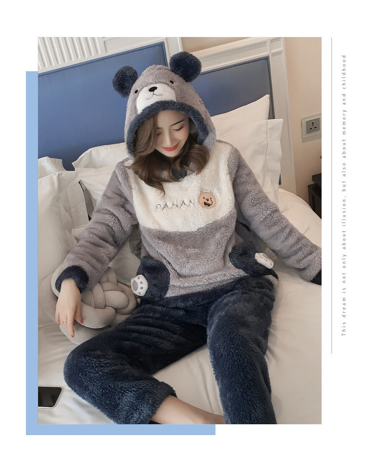 Winter Women Pajama Flannel Sleepwear Long Sleeves Hot Pajamas For Women Velvet Pajama Women Soft Clothing 105