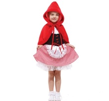 CaGiPlay girls little red riding hood costume fairy tales clothes cute suits female children halloween kids