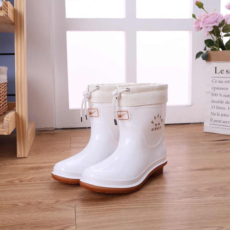 Orta Yüksek Ve Düşük Tüp Açık kaymaz Ayakkabı, Gıda Hijyen Botları, beyaz Kantin yağmur ayakkabıları Ve yağmur çizmeleri yağmur çizmeleri Kadın
