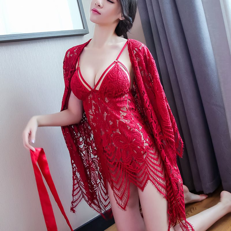 Sexy   Nightgowns     Sleepshirts   Sleepwear Women Night Dress Lace Embroidery Sexy Lingerie Ceochet Women Nightwear NEW HOT