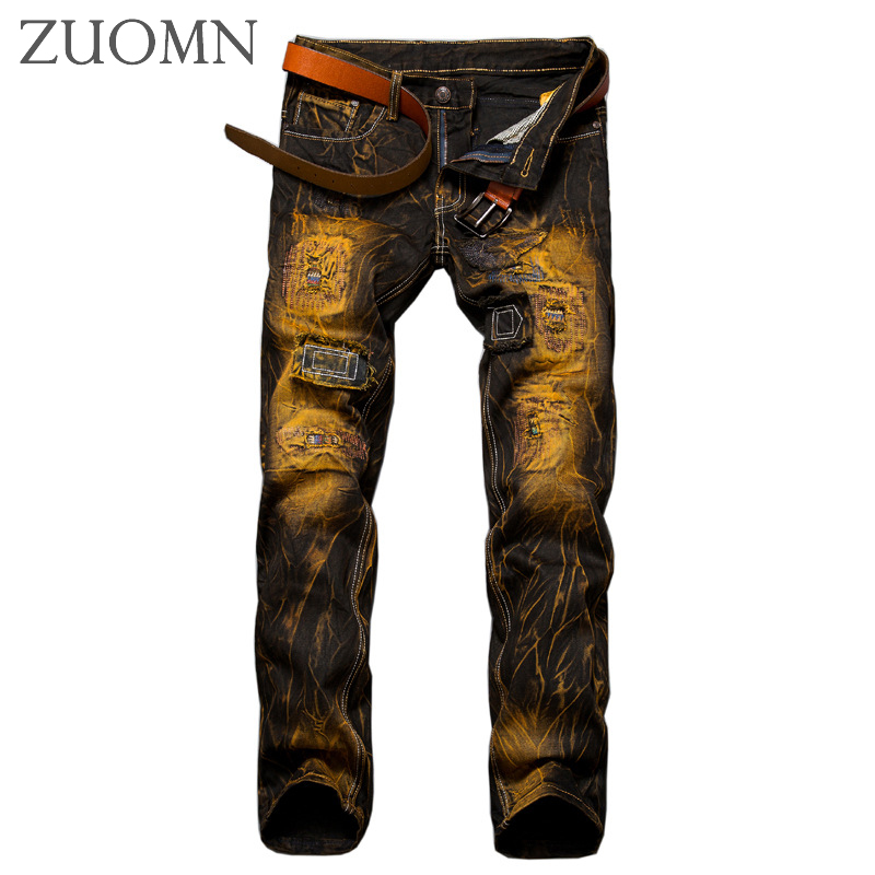 Men Trendy Jeans Streetwear Retro Man Jeans Hiphop Old Jean Casual Pants Slim Fit Distressed Hip Hop Denim Trousers Y28