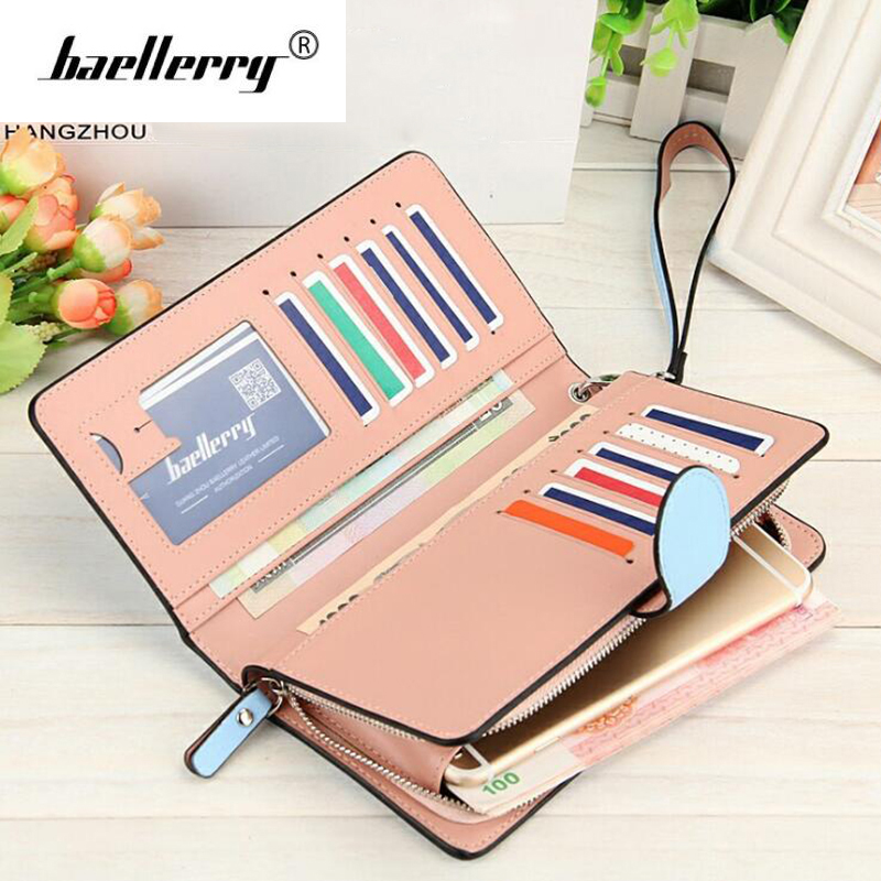 Baellerry Long Zipper Woman Wallet Leather Phone Bag Women Wallets Female Clutch Ladies Coin Purse Brand Card Money Wallet Red