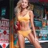 Yellow Feather Yarn Solid Bikini Set  1