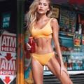 Cupshe Gelb Feder Garn Solide Bikini Set Plain aushöhlen Padded Zwei Stücke Bademode 2020 Frauen Sexy Tanga Badeanzüge