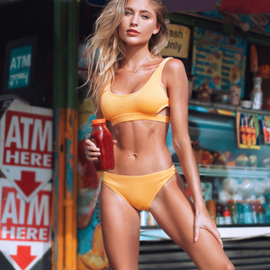 Image 1 - Cupshe Yellow Feather Yarn Solid Bikini Set Plain Hollow out Padded Two Pieces Swimwear 2020 Women Sexy Thong Swimsuits
