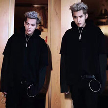 Exo bazaar faux two piece with a hood sweatshirt lovers design black casual outerwear