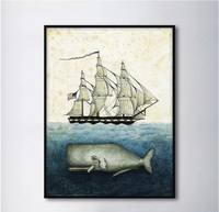 European Sailing Boat And Sperm Whale Decorative Paintings Modular Picture Wall Art Canvas Painting For Living