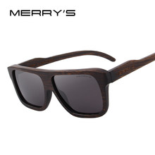 MERRYS DESIGN Men Wooden Sunglasses Square Polarized Sun Glasses HAND MADE 100% UV Protection S5066(China)