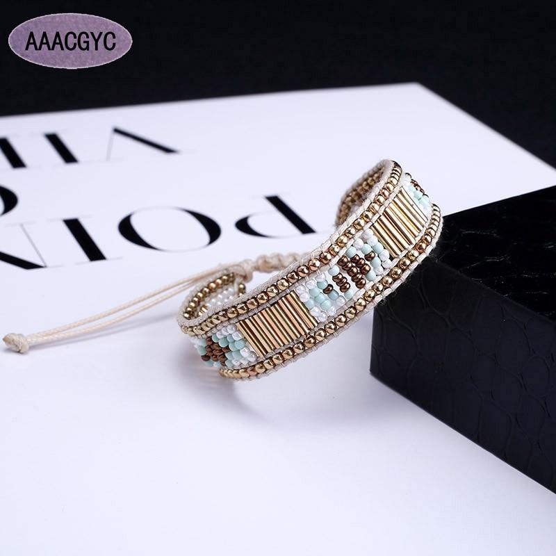 AAACGYC D098 DIY Pulseiras nova pulseira simples tecido artesanal seedbead pulseira senhoras jóias moda feminina acessórios