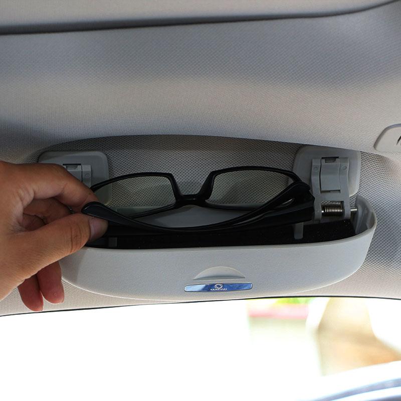 JAMEO AUTO Car Glasses Box Case Sunglasses Storage Box Case for Audi Q3 Q5 SQ5 Q7 A1 A3 S3 A4 A4L A6L A7 S6 S7 S4 RS4 A5 S5 car headrest supplies neck safety pillow for audi sline a3 a4l a4 a5 a6l a7 a8l q3 q5 q7 tt s3 s4 s5 s6 s7 interior accessories