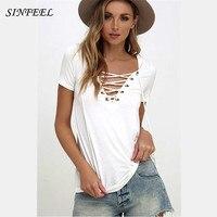Summer T Shirt Women Tops Femme Short Sleeve V Neck White T Shirt Clothing Tees Plus