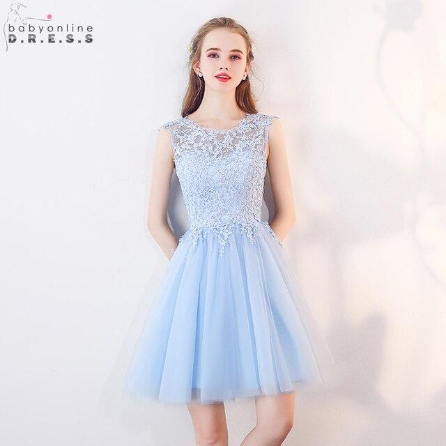 Babyonline Lace Applique Short Homecoming Dresses 2019 Sleeveless Party Dresses Lace Up Back vestidos de graduacion