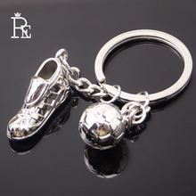 RE 100pcs/Lot Soccer Shoes Ball Keychain Key Chain Fashion Gifts Keychains Keyring Wholesale