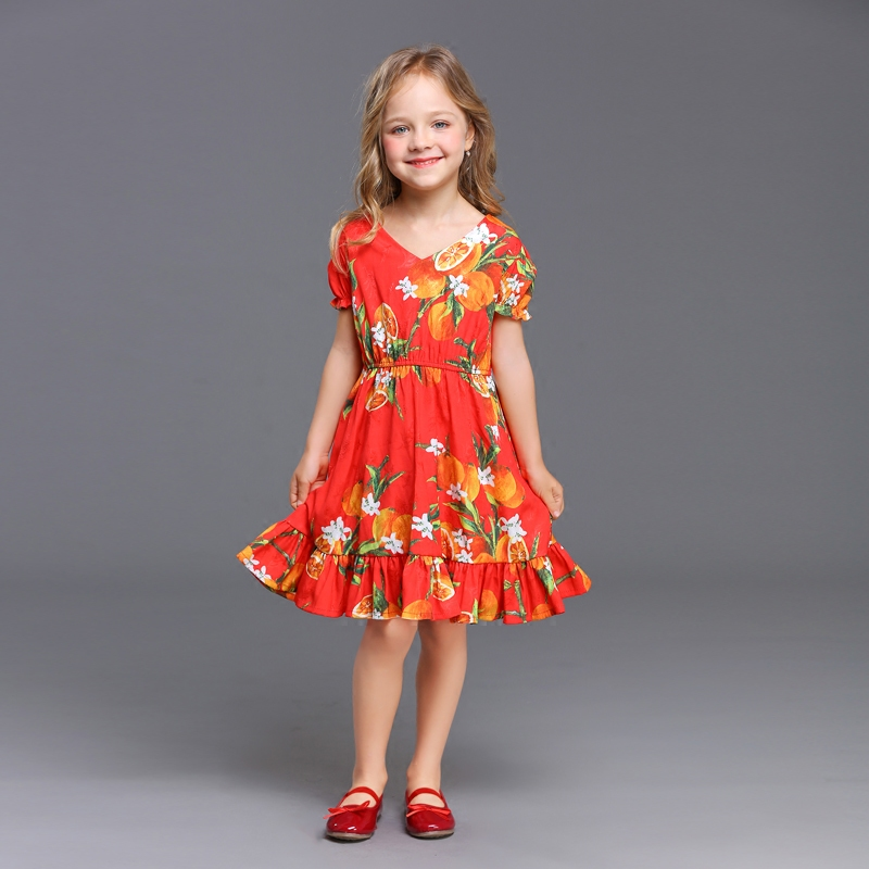 Summer kids lemon print pleated sleeveless V-neck family look clothes matching mother and bebe girl dress girls fashion dresses grey lace details floral print v neck sleeveless pajamas sets