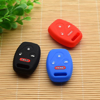 3 Buttons Remote Key FOB silicone rubber cover case set skin holder protected for HONDA Accord Civic CRV Pilot Fit With Logo image