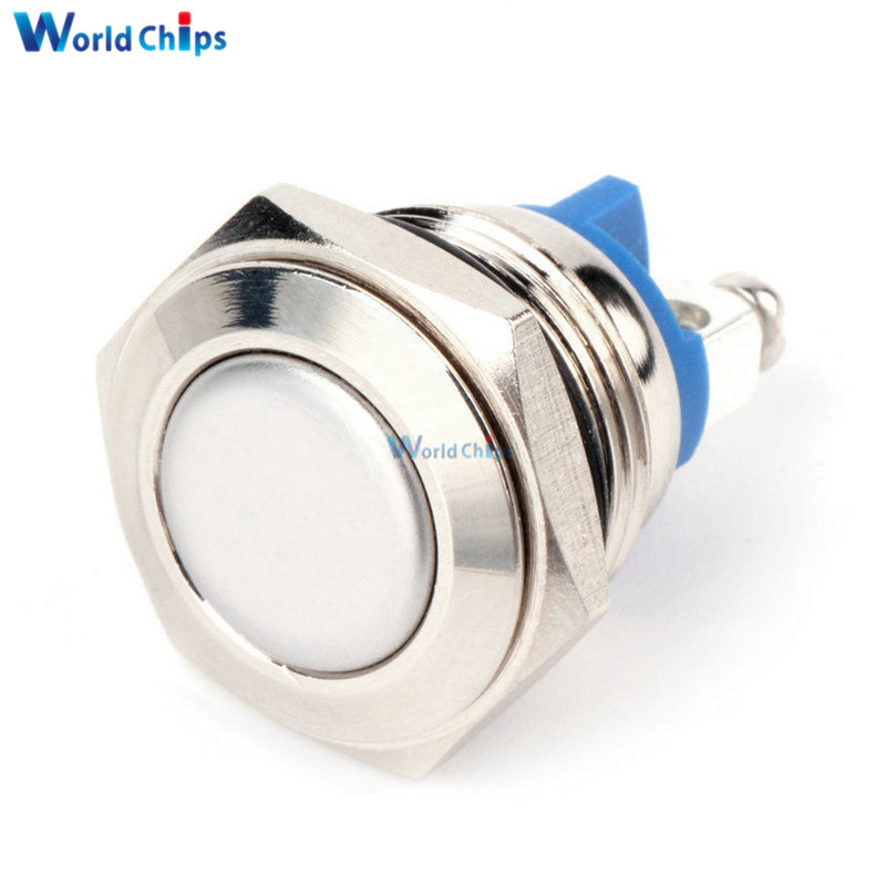 AC 250V 3A Stainless Steel Switch 16mm Metal Momentary Round  N O Normally Open